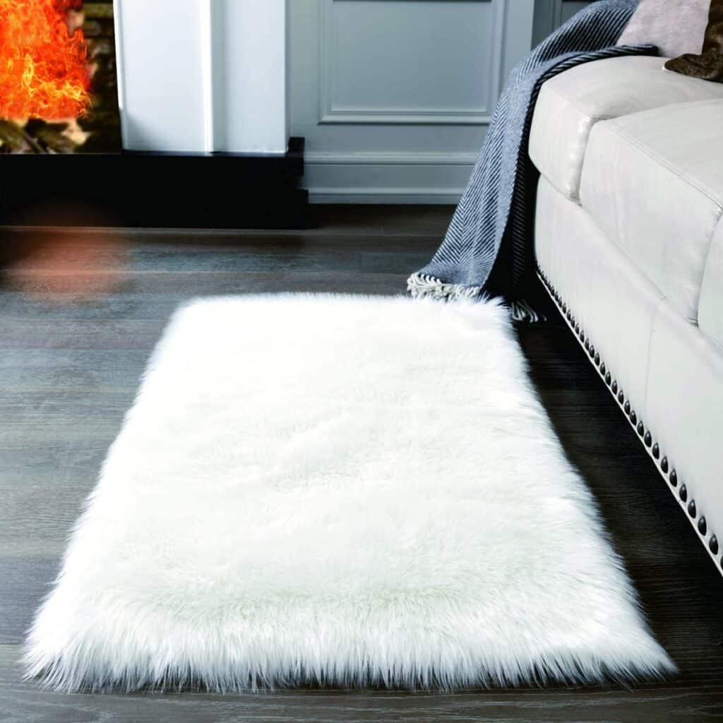 Super Soft White Fluffy Rug Faux Fur Area Rug