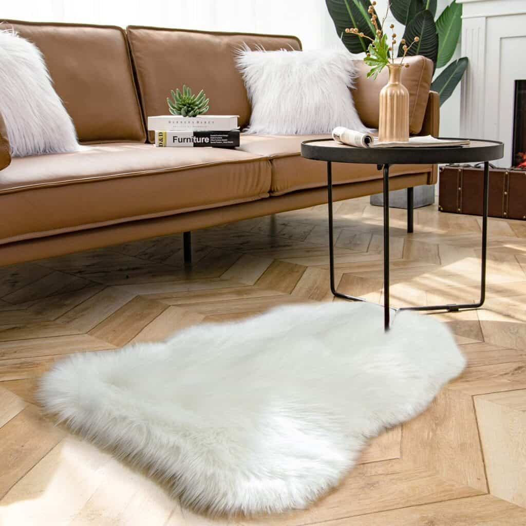 Ashler Soft Faux Sheepskin Fur Rug