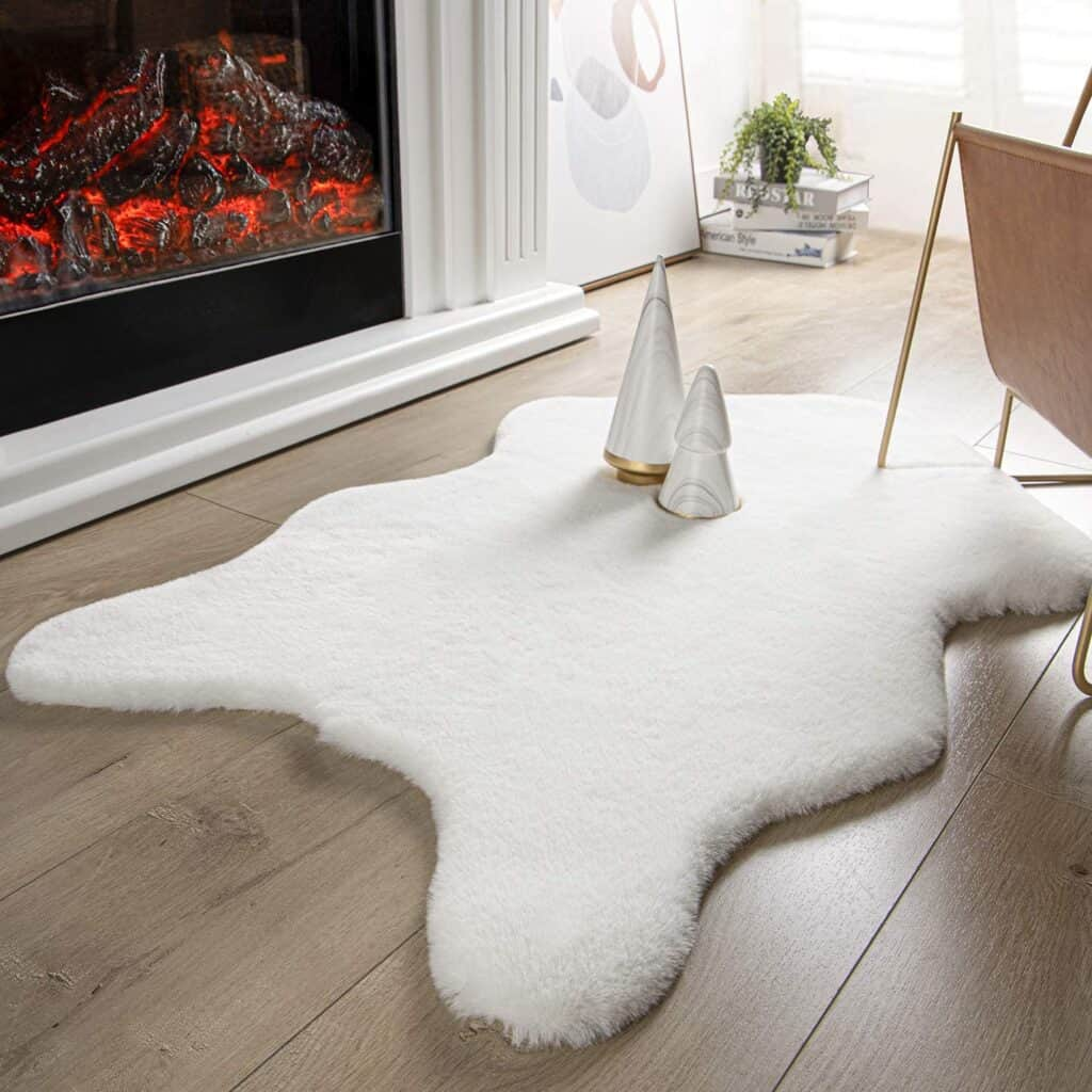 Ashler Ultra Soft Faux Rabbit Fur Cover Area Rug