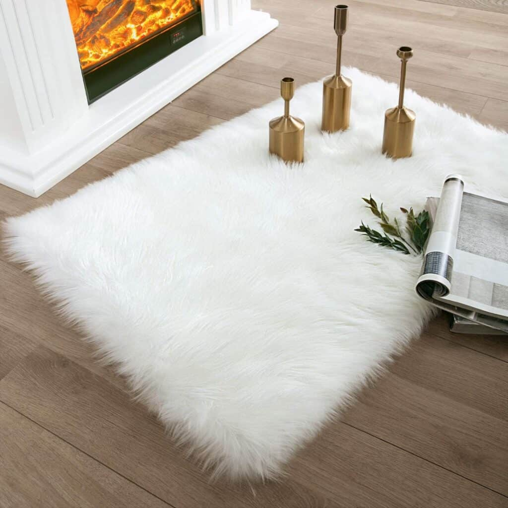 Ashler Faux Fur White Rectangle Area Rug