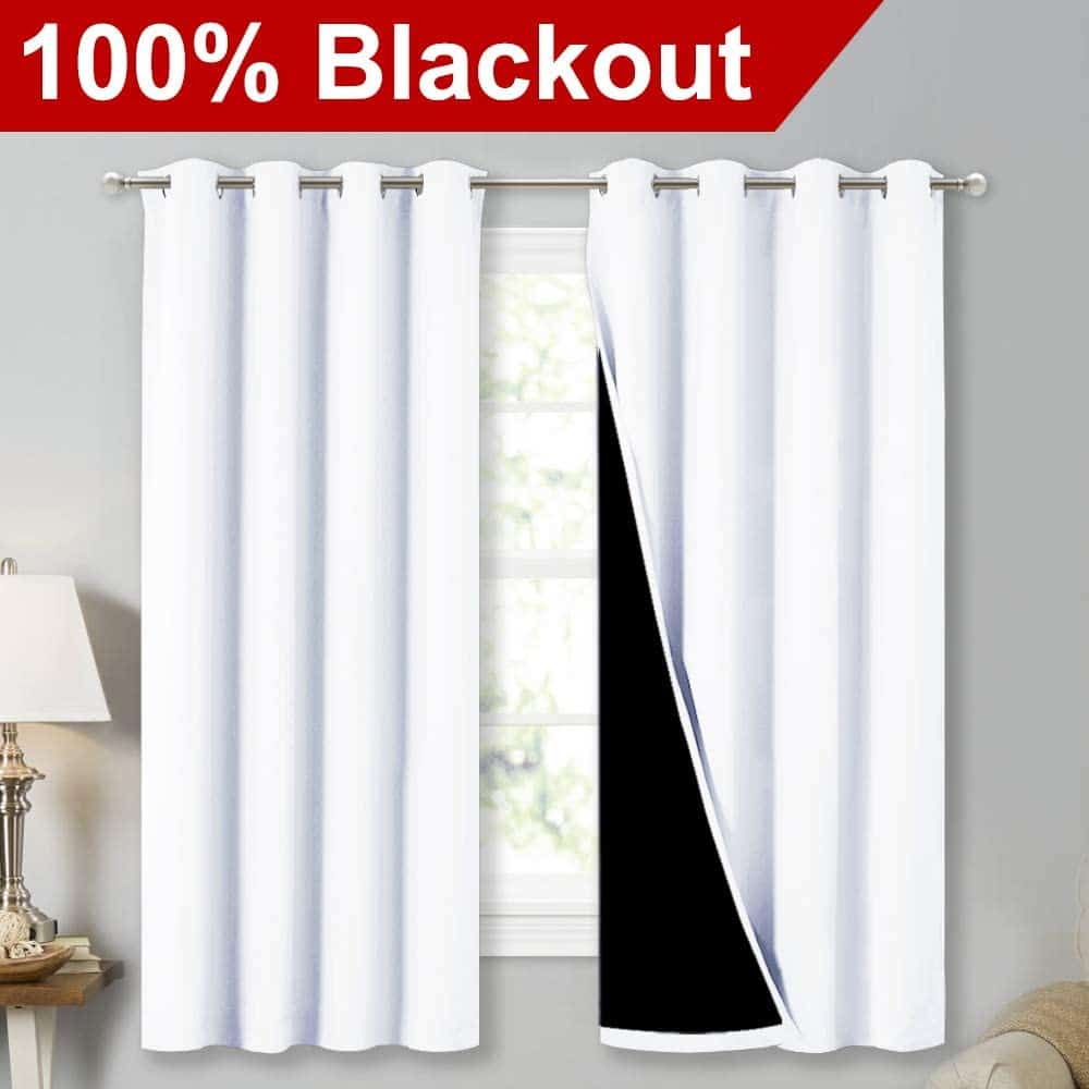 NICETOWN White with100% Blackout Lined Curtains