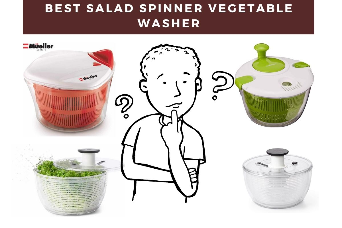 one guy looking at four salad spinners and he is confused